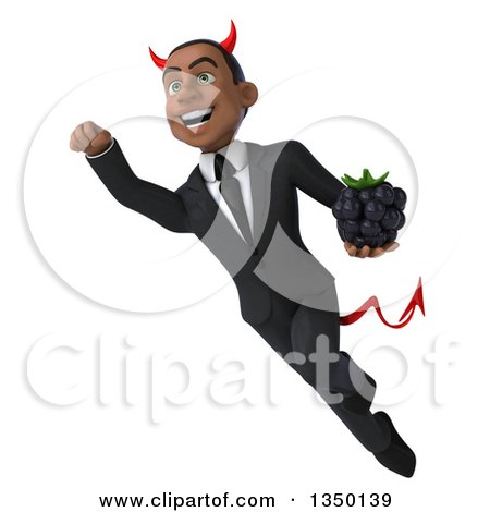 Clipart of a 3d Young Black Devil Businessman Holding a Blackberry and Flying - Royalty Free Illustration by Julos