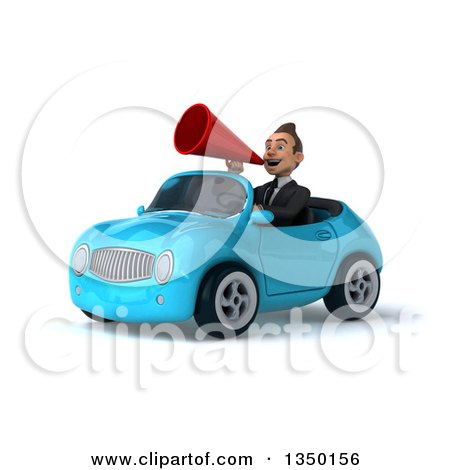 Clipart of a 3d Young White Business Man Using a Megaphone and Driving a Blue Convertible Car to the Left - Royalty Free Illustration by Julos