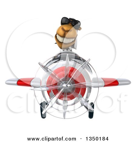 Clipart of a 3d Arabian Business Camel Aviator Pilot Wearing Sunglasses and Flying a White and Red Airplane - Royalty Free Illustration by Julos
