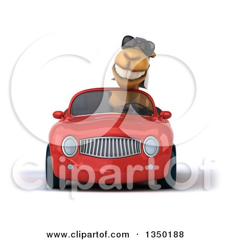 Clipart of a 3d Arabian Camel Wearing Sunglasses and Driving a Red Convertible Car - Royalty Free Illustration by Julos