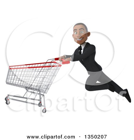 Clipart of a 3d Young Black Businessman Flying with a Shopping Cart - Royalty Free Illustration by Julos