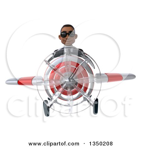 Clipart of a 3d Young Black Businessman Aviator Pilot Wearing Sunglasses and Flying a White and Red Airplane - Royalty Free Illustration by Julos