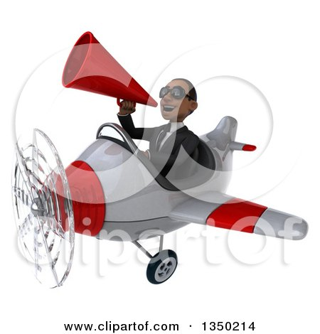 Clipart of a 3d Young Black Businessman Aviator Pilot Wearing Sunglasses, Using a Megaphone and Flying a White and Red Airplane to the Left - Royalty Free Illustration by Julos