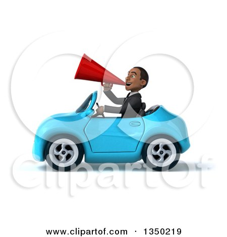 Clipart of a 3d Young Black Businessman Using a Megaphone and Driving a Blue Convertible Car to the Left - Royalty Free Illustration by Julos