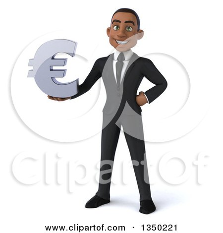Clipart of a 3d Young Black Businessman Holding a Euro Currency Symbol - Royalty Free Illustration by Julos