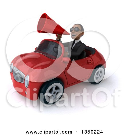Clipart of a 3d Young Black Businessman Wearing Sunglasses, Using a Megaphone and Driving a Red Convertible Car to the Left - Royalty Free Illustration by Julos