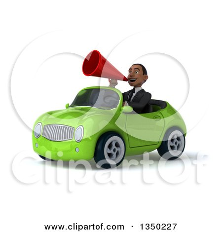 Clipart of a 3d Young Black Businessman Using a Megaphone and Driving a Green Convertible Car to the Left - Royalty Free Illustration by Julos