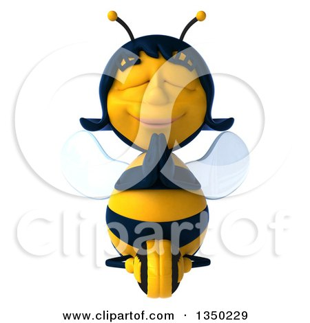 Clipart of a 3d Female Bee Meditating - Royalty Free Illustration by Julos