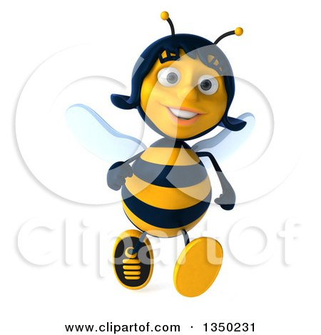 Clipart of a 3d Female Bee Running - Royalty Free Illustration by Julos