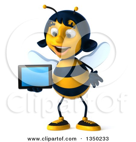 Clipart of a 3d Female Bee Holding a Tablet Computer - Royalty Free Illustration by Julos