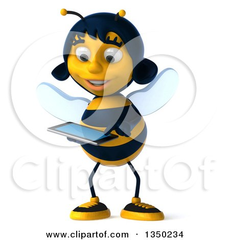 Clipart of a 3d Female Bee Using a Touch Screen a Tablet Computer - Royalty Free Illustration by Julos