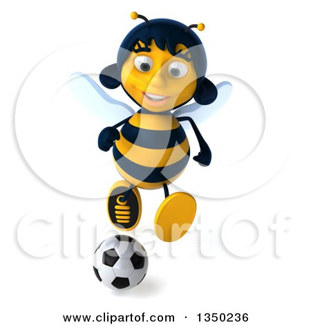 Clipart of a 3d Female Bee Playing Soccer - Royalty Free Illustration by Julos