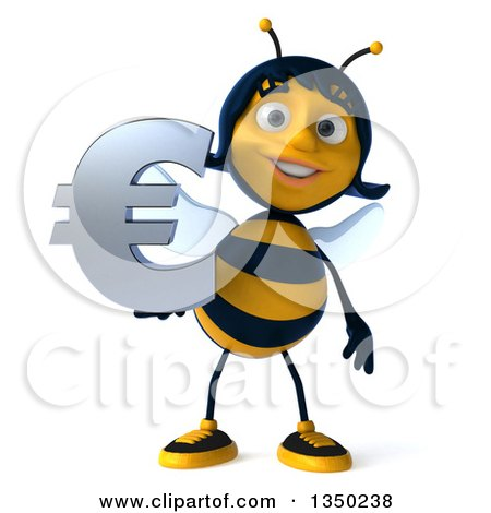 Clipart of a 3d Female Bee Holding a Euro Currency Symbol - Royalty Free Illustration by Julos