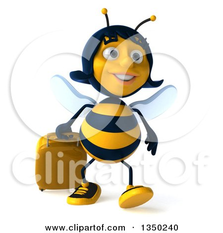 Clipart of a 3d Female Bee Walking with a Suitcase - Royalty Free Illustration by Julos