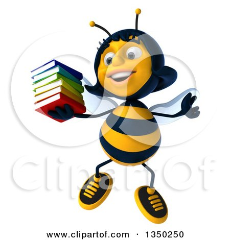 Clipart of a 3d Female Bee Jumping and Holding a Stack of Books - Royalty Free Illustration by Julos