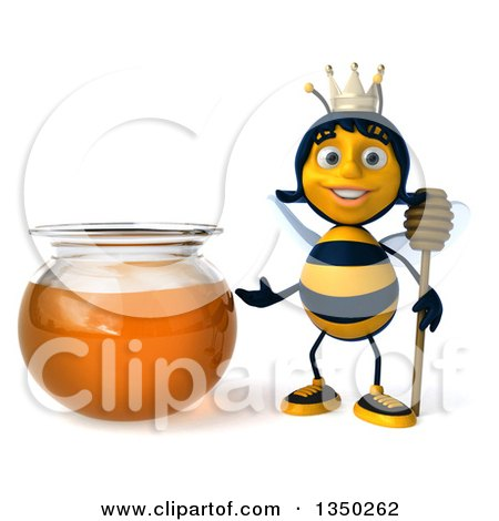 Clipart of a 3d Happy Queen Bee Holding a Dipper and Presenting a Honey Jar - Royalty Free Illustration by Julos