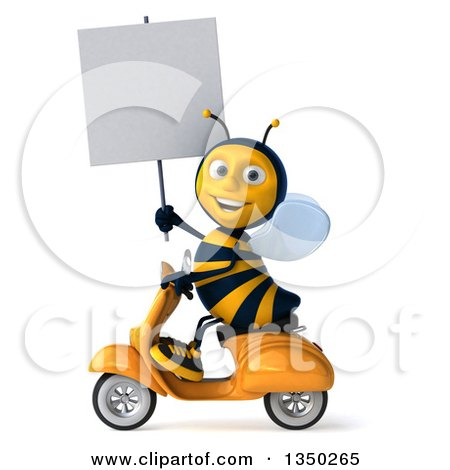 Clipart of a 3d Male Bee Holding a Blank Sign and Driving a Scooter to the Left - Royalty Free Illustration by Julos