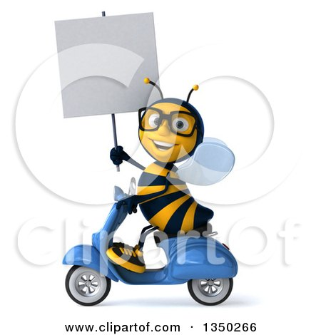 Clipart of a 3d Bespectacled Male Bee Holding a Blank Sign and Driving a Blue Scooter to the Left - Royalty Free Illustration by Julos