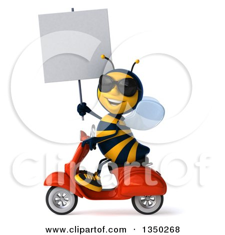 Clipart of a 3d Male Bee Wearing Sunglasses, Holding a Blank Sign and Driving a Red Scooter to the Left - Royalty Free Illustration by Julos
