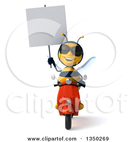 Clipart of a 3d Male Bee Wearing Sunglasses, Holding a Blank Sign and Driving a Red Scooter - Royalty Free Illustration by Julos