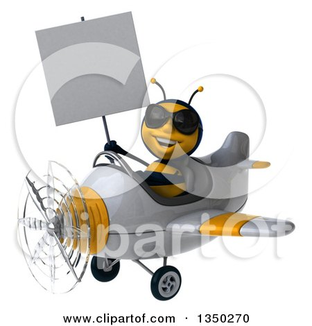 Clipart of a 3d Male Bee Aviator Pilot Wearing Sunglasses, Holding a Blank Sign and Flying a White and Yellow Airplane to the Left - Royalty Free Illustration by Julos