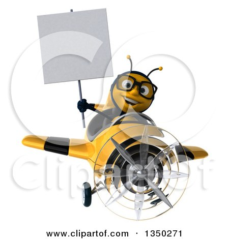Clipart of a 3d Bespectacled Male Bee Aviator Pilot Holding a Blank Sign and Flying a Yellow and Black Airplane - Royalty Free Illustration by Julos