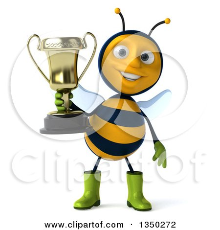 Clipart of a 3d Happy Male Gardener Bee Holding a Trophy - Royalty Free Illustration by Julos