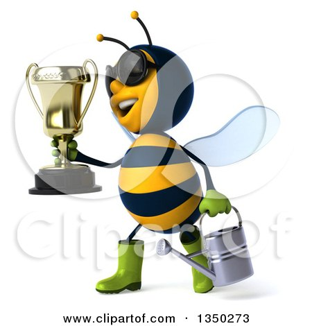 Clipart of a 3d Happy Male Gardener Bee Wearing Sunglasses, Holding a Watering Can and Walking to the Left with a Trophy - Royalty Free Illustration by Julos