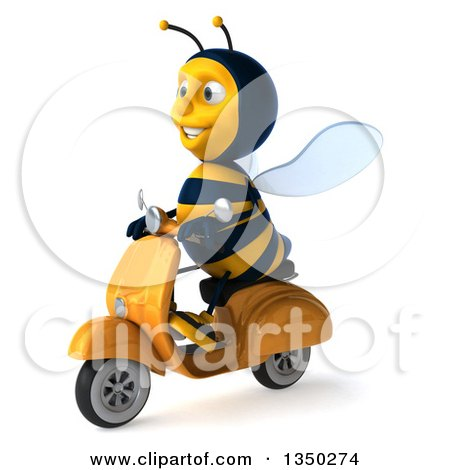 Clipart of a 3d Male Bee Driving a Scooter to the Left - Royalty Free Illustration by Julos