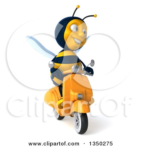 Clipart of a 3d Male Bee Driving a Scooter - Royalty Free Illustration by Julos
