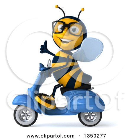 Clipart of a 3d Bespectacled Male Bee Giving a Thumb up and Driving a Blue Scooter to the Left - Royalty Free Illustration by Julos