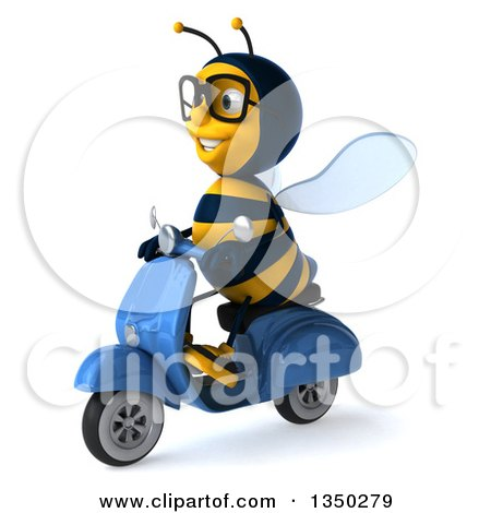 Clipart of a 3d Bespectacled Male Bee Driving a Blue Scooter to the Left - Royalty Free Illustration by Julos