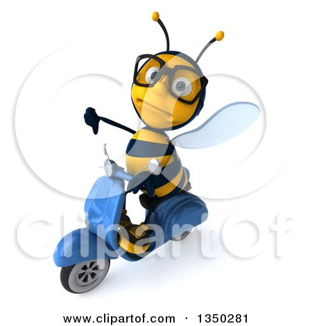 Clipart of a 3d Bespectacled Male Bee Giving a Thumb down and Driving a Blue Scooter to the Left - Royalty Free Illustration by Julos