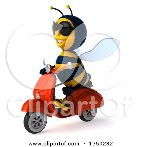 Clipart of a 3d Male Bee Wearing Sunglasses and Driving a Red Scooter to the Left - Royalty Free Illustration by Julos