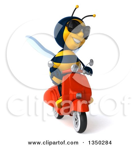 Clipart of a 3d Male Bee Wearing Sunglasses and Driving a Red Scooter - Royalty Free Illustration by Julos
