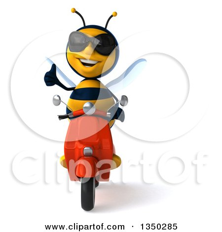 Clipart of a 3d Male Bee Wearing Sunglasses, Giving a Thumb up and Driving a Red Scooter - Royalty Free Illustration by Julos