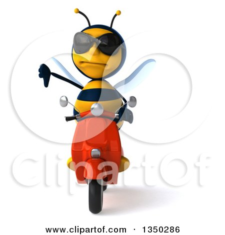Clipart of a 3d Male Bee Wearing Sunglasses, Giving a Thumb down and Driving a Red Scooter - Royalty Free Illustration by Julos