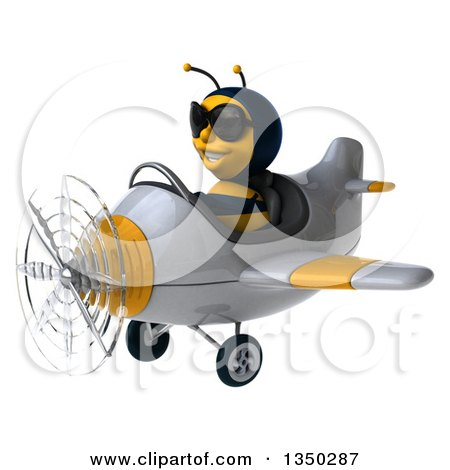 Clipart of a 3d Male Bee Aviator Pilot Wearing Sunglasses and Flying a White and Yellow Airplane to the Left - Royalty Free Illustration by Julos