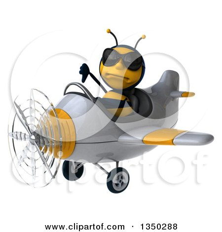 Clipart of a 3d Male Bee Aviator Pilot Wearing Sunglasses, Giving a Thumb down and Flying a White and Yellow Airplane to the Left - Royalty Free Illustration by Julos