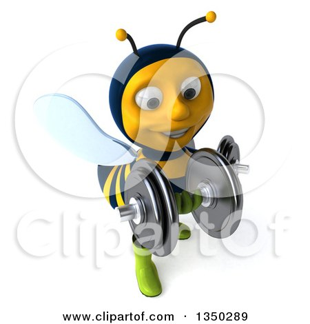 Clipart of a 3d Male Bee Gardener Working out with Dumbbells - Royalty Free Illustration by Julos