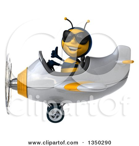 Clipart of a 3d Male Bee Aviator Pilot Wearing Sunglasses, Giving a Thumb up and Flying a White and Yellow Airplane to the Left - Royalty Free Illustration by Julos