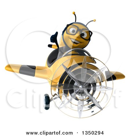 Clipart of a 3d Bespectacled Male Bee Aviator Pilot Giving a Thumb up and Flying a Yellow and Black Airplane - Royalty Free Illustration by Julos