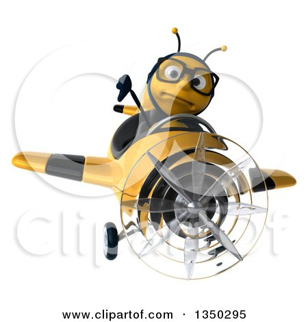 Clipart of a 3d Bespectacled Male Bee Aviator Pilot Giving a Thumb down and Flying a Yellow and Black Airplane - Royalty Free Illustration by Julos