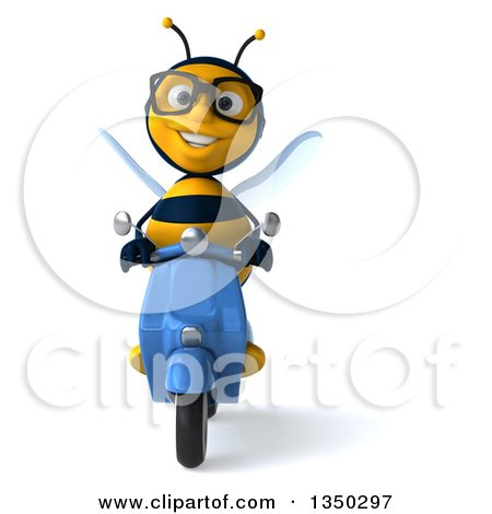 Clipart of a 3d Bespectacled Male Bee Driving a Blue Scooter - Royalty Free Illustration by Julos