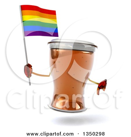 Clipart of a 3d Beer Mug Character Holding a Rainbow Flag and Thumb down - Royalty Free Illustration by Julos