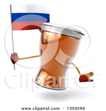 Clipart of a 3d Beer Mug Character Shrugging and Holding a Russian Flag - Royalty Free Illustration by Julos