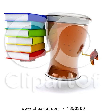 Clipart of a 3d Beer Mug Character Giving a Thumb down and Holding a Stack of Books - Royalty Free Illustration by Julos