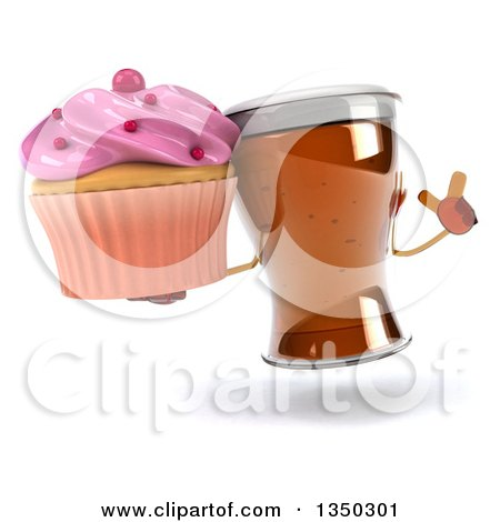 Clipart of a 3d Beer Mug Character Holding up a Finger and a Cupcake - Royalty Free Illustration by Julos