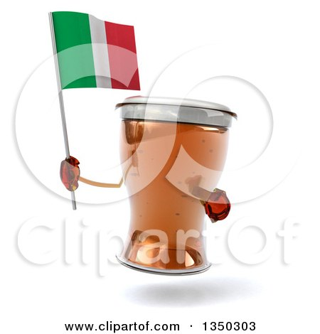 Clipart of a 3d Beer Mug Character Holding an Pointing to an Italian Flag - Royalty Free Illustration by Julos