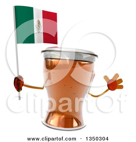 Clipart of a 3d Beer Mug Character Jumping and Holding a Mexican - Royalty Free Illustration by Julos